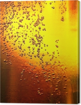 Glass of beer with bubbles Canvas Print