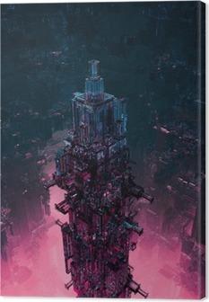 Glass technocore city / 3D render of futuristic science fiction structure Canvas Print