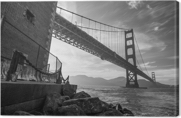Golden Gate Bridge Black And White Canvas Print Styles