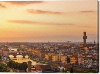Golden sunset over the river Arno, Florence, Italy Canvas Print