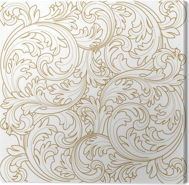 Golden Vintage Frame Scroll Ornament Engraving Border Floral Retro Pattern Antique Style Acanthus Foliage Swirl Decorative Design Element Filigree