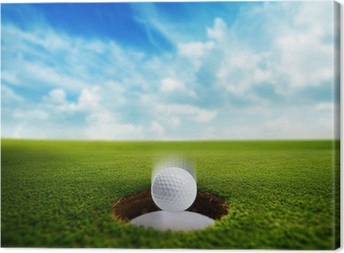 Golf Ball falling into hole Canvas Print