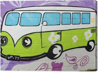 Graffiti bus hippy. Canvas Print