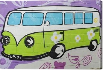 Graffiti bus hippy. Canvas Print