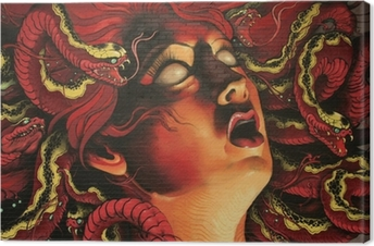 graffiti Medusa on stone wall Canvas Print