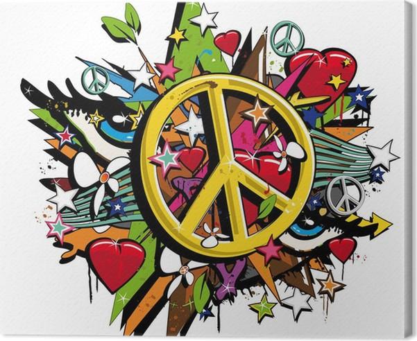 Graffiti Peace And Love Symbol Pop Art Illustration Canvas Print