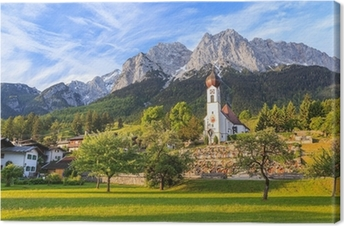 Grainau village and Zugspitze top of Germany Canvas Print