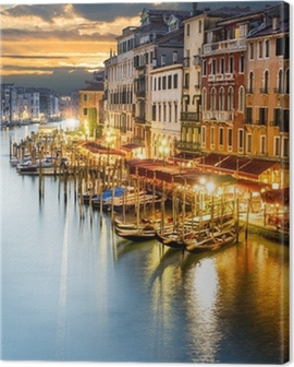 Grand Canal in Venice by night Canvas Print