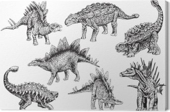 Graphical set of stegosaurs and ankylosauruses isolated on white background,vector sketchy illustration Canvas Print