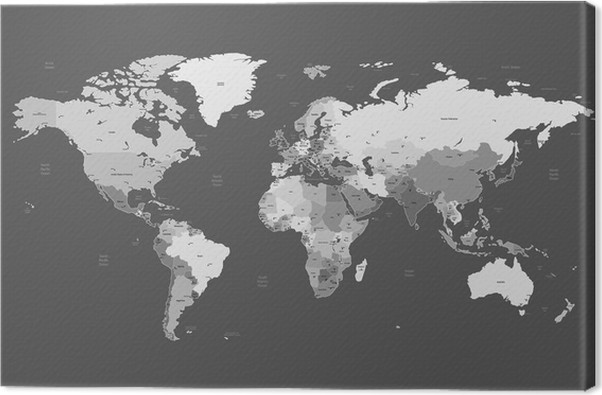 Gray detailed world map canvas print pixers we live to change gray detailed world map canvas print styles gumiabroncs Image collections