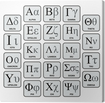 Greek Alphabet and Symbols, Hand-Made Chart Canvas Print