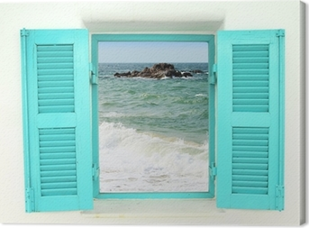 Greek style window with sea view Canvas Print