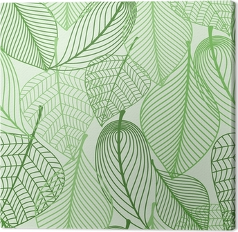 Green leaves seamless pattern background Canvas Print