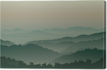 Green mountains in fog Canvas Print