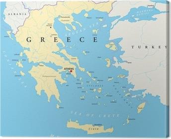 Griechenland Landkarte Canvas Print