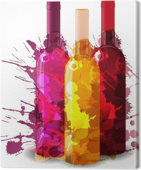 Group of wine bottles vith grunge splashes. Red, rose and white. Canvas Print