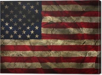 Grunge American flag background Canvas Print