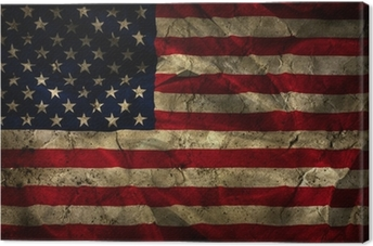 Grunge American flag background Canvas Print
