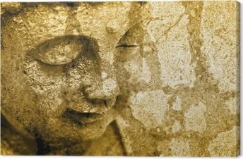 Grunge Buddha Background - Sepia Fx Canvas Print