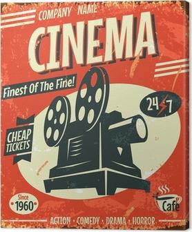 Grunge retro cinema poster. Vector illustration. Canvas Print