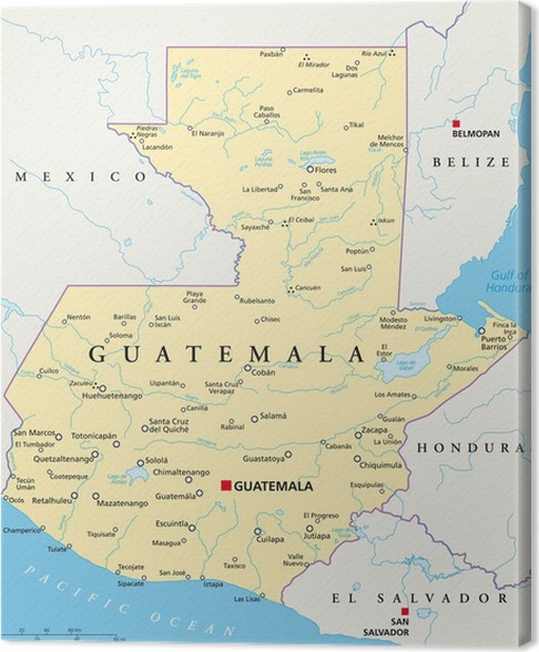 guatemala kart Guatemala Map (Guatemala Landkarte) Canvas Print • Pixers® • We  guatemala kart