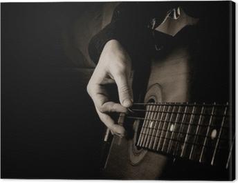 guitar at black background Canvas Print