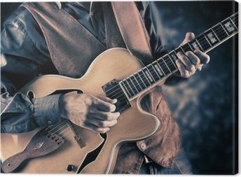 guitar player vintage image Canvas Print