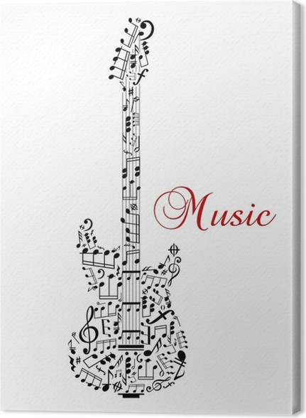 guitar silhouette with musical notes canvas print pixers we