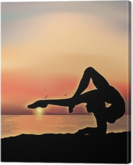 Gymnast exercising near the sea Canvas Print