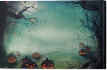 Halloween design - Forest pumpkins Canvas Print
