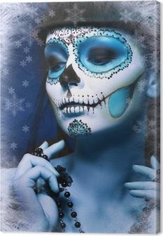 halloween make up sugar skull Canvas Print