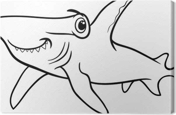 hammerhead shark coloring book Canvas Print • Pixers® • We live to ...
