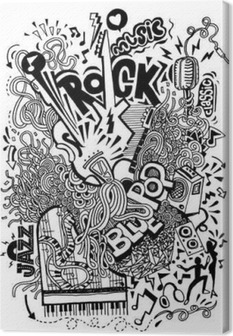 Hand drawing Doodle,Collage with musical instruments Canvas Print