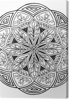 Hand-drawing mandala, round floral ornament. Pattern for coloring book or print for cloth. Vector stock illustration. Canvas Print