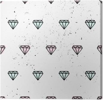 Hand Drawn Diamonds Seamless Pattern Canvas Print
