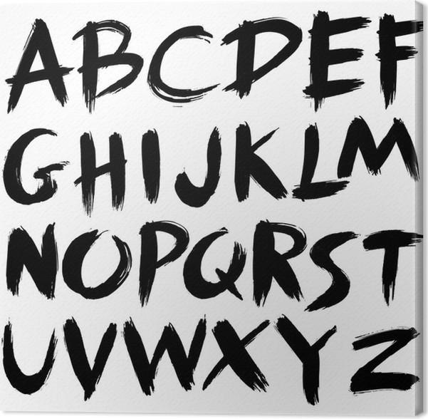 Hand Drawn Fontbrush Stroke Alphabetgrunge Style Canvas Print