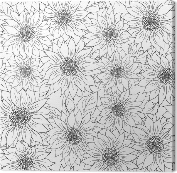 Hand Drawn Pattern Sunflowers Background Flower Black White Packaging Products Canvas Print