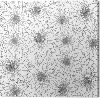 Hand Drawn Pattern Sunflowers Background Flower Black White