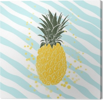 Hand drawn pineapple. Vector background Canvas Print