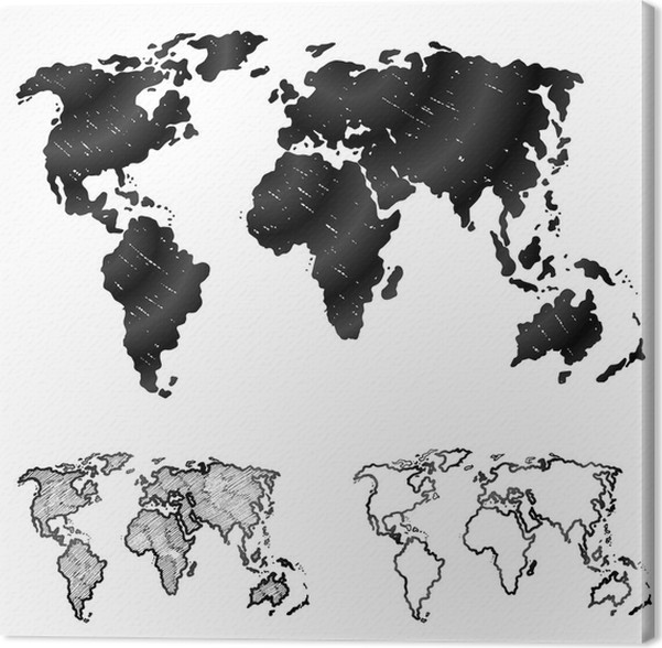 Hand drawn world map in three versions. Sketch of global map Canvas ...