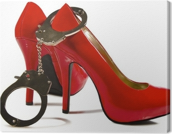 Handcuffs and high heels Canvas Print
