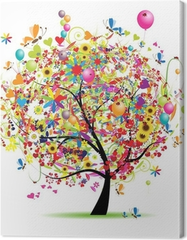 Happy holiday, funny tree with balloons Canvas Print