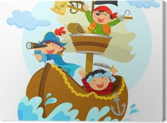 happy pirates sailing in their ship Canvas Print