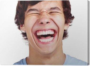 Happy teenage laugh closeup over white Canvas Print