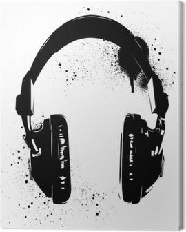 Headphones Graffiti Canvas Print
