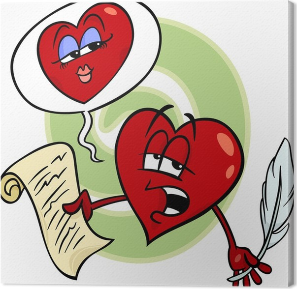 heart reading love poem cartoon canvas print pixers we live to
