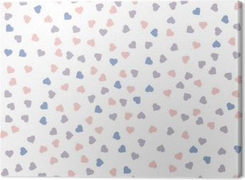 Heart seamless pattern. Vector illustration. Rose quartz and serenity colors. Canvas Print