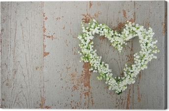 Heart shaped flower wreath of lilys of the valley Canvas Print