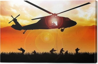 Helicopter is dropping the troops Canvas Print