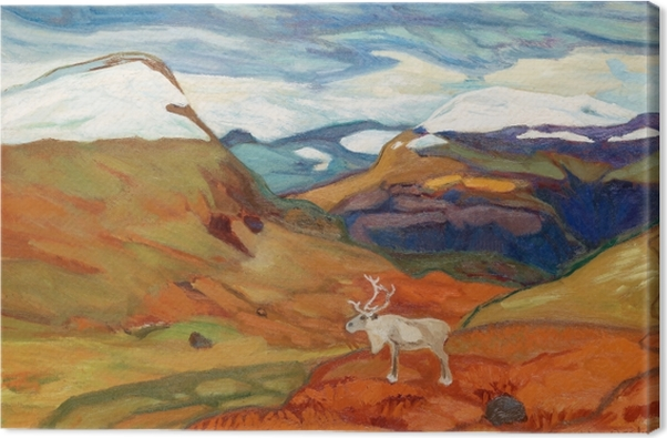 Helmer Osslund - Autumn Landscape with Reindeer Canvas Print - Reproductions